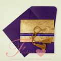 2018 Classical Retro Cheap Purple Handmade Invitation Cards With Tassel