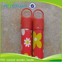 hot plastic threaded straight pvc coated wood handle for brush/broom/mop