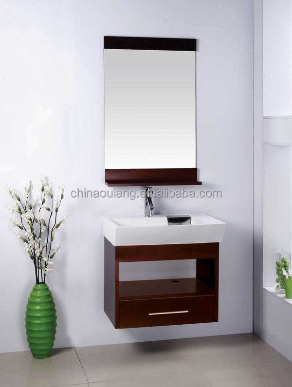 Small Wall Mount Solid Wood single bathroom vanity cabinet