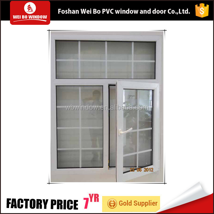 China factory open inward window pvc/upvc window and door with grill