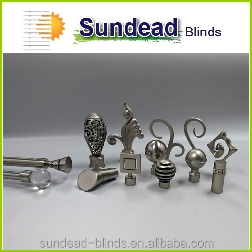 Home furnishing decorative curtain rod end cups in satin stainless alum finishes for Drapery and Curtain rod sets