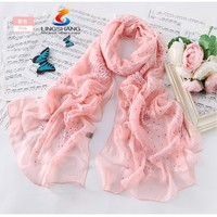Lingshang new arrived embroidery diamond brand winter women scarves pure silk scarf hotsale bufandas