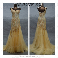 High End Dresses in Real Photos Gold Tulle Luxurious Mermaid Evening Dress