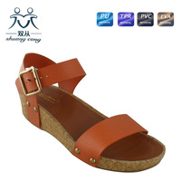 2015 new fashion ladies fancy flat thick heel sandals and shoes for women