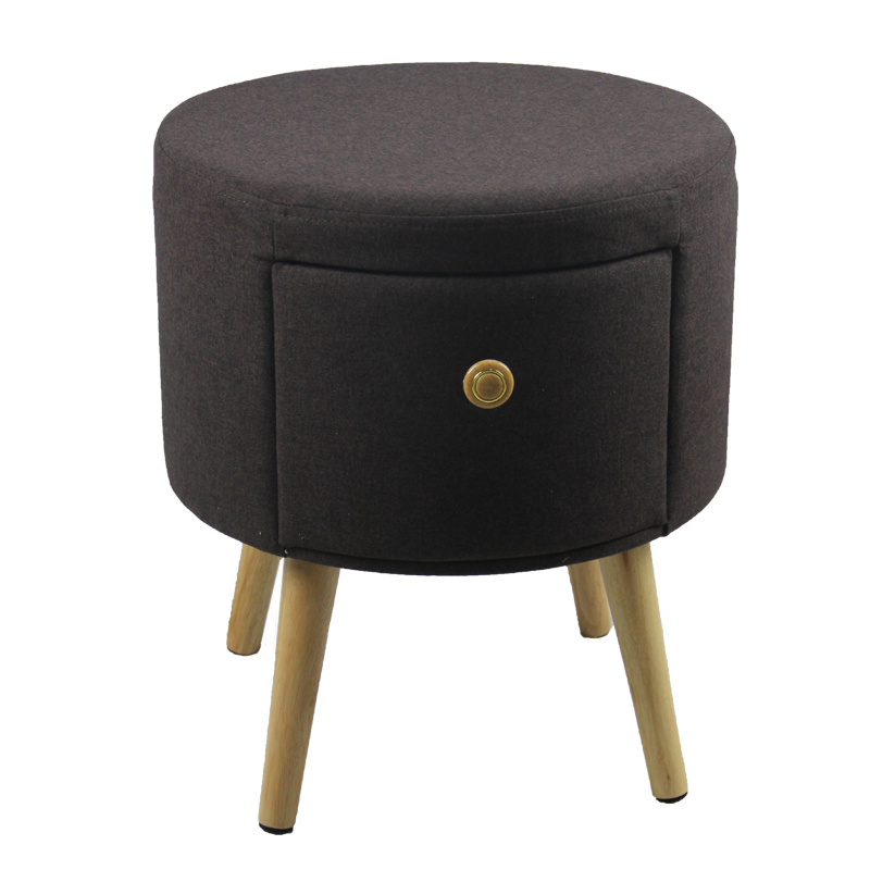 Round Fabric Storage Drawers Wooden Legs Ottoman