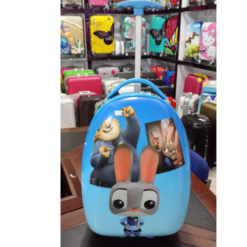 Cute Animal Design Children's Trolley Rolling Suitcase With Telescoping Pull Handle