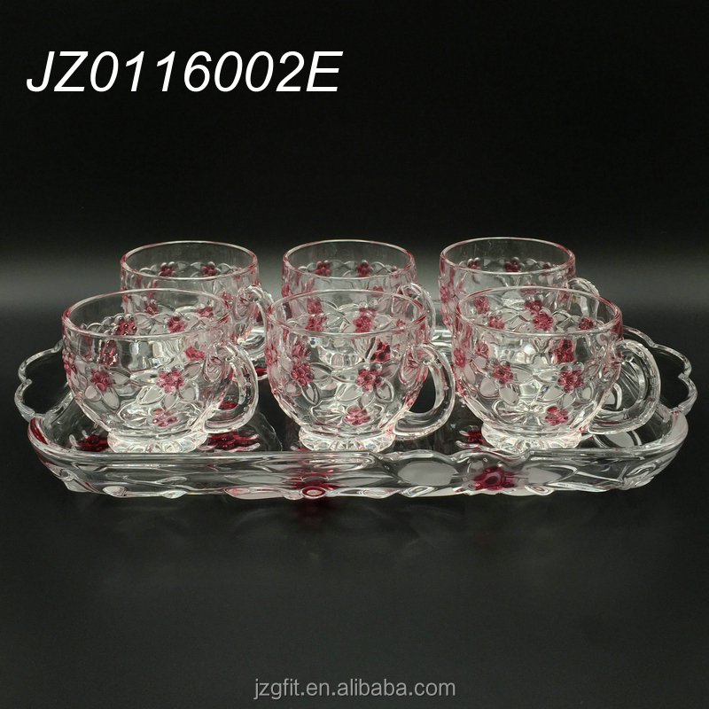 Elegant flower pattern 7pcs crystal clear glass tea set, glass tea mug, glass tea cup for home&wedding decoration