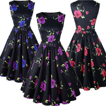 Walson Lady soft textile fashion black O-neck frocks printing sleeveless summer wear african dinner dresses