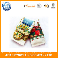 Kitchen Set oven mitt/Potholder/tea towel sets 100% Cotton Material and Printed Pattern towels