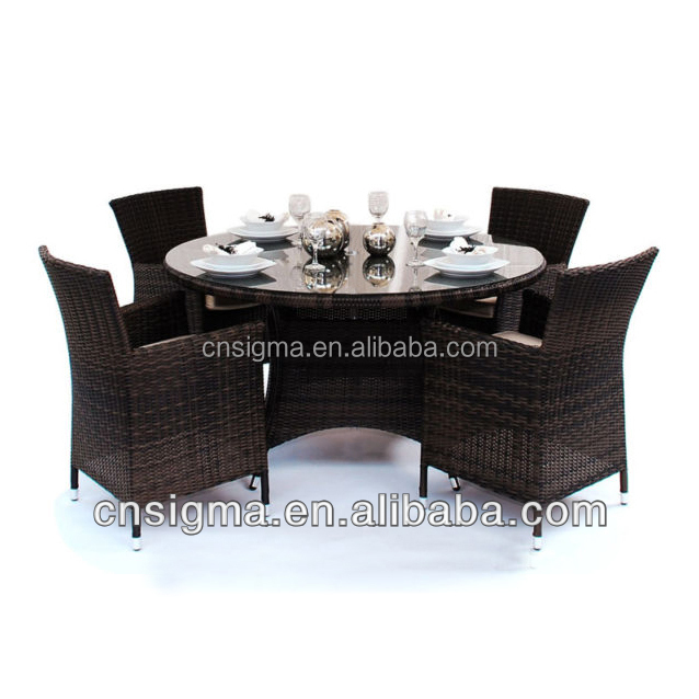 rattan restaurant furniture dining room set patio table and chairs for sale