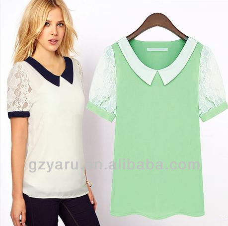 hot selling fashion flowy contrast collar blouse /shirt
