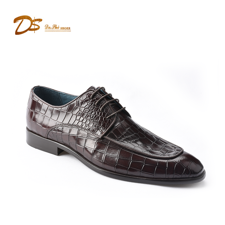 New arrive crocodile embossed genuine leather men fashion luxury dress shoes
