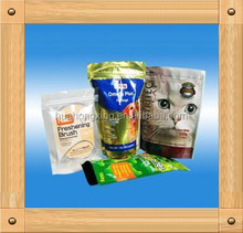 Laminated stand up ziplock pet food packaging bags