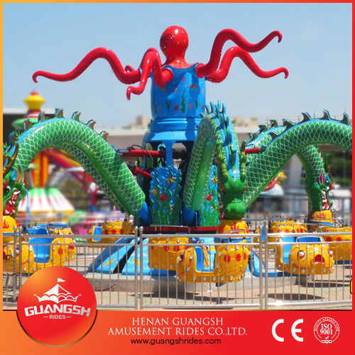 Park most popular thrilling rides, amusement big octopus for kids funny