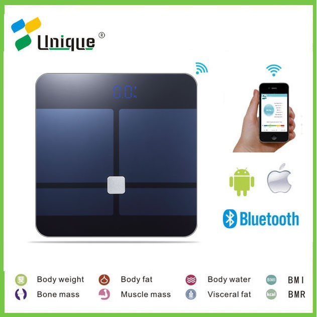 hot selling 6mm glass LED display multi-unser app tracking bluetooth bathroom body weighing digital fat analysis balance scales