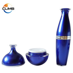 Blue Plastic bottle 100ml acrylic cosmetic packaging with wine shape lid empty cosmetic plastic containers for creams