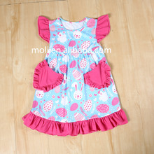 2017spring wholesale girls flutter sleeve love heart pattern cotton summer baby dress pictures