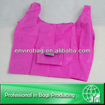 Top Fashion Simple Design Portable Waterproof Foldable Polyester Shopping Bag