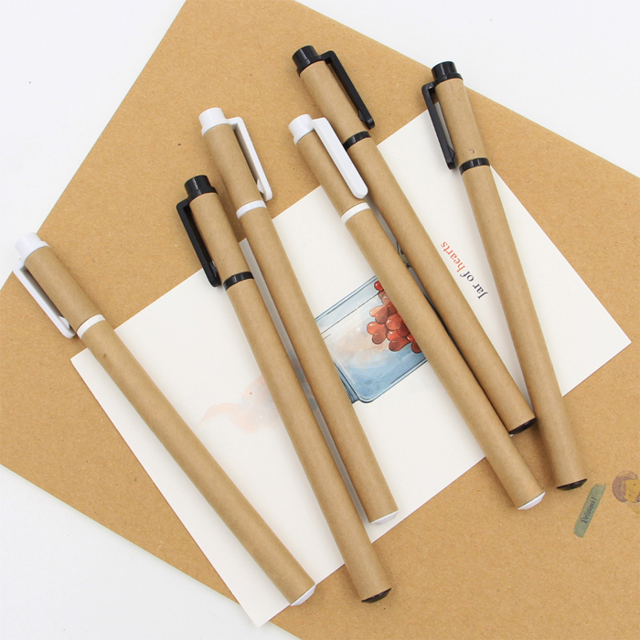 HF0019 creative hot sale recycled gift kraft paper color gel pen set for school&office