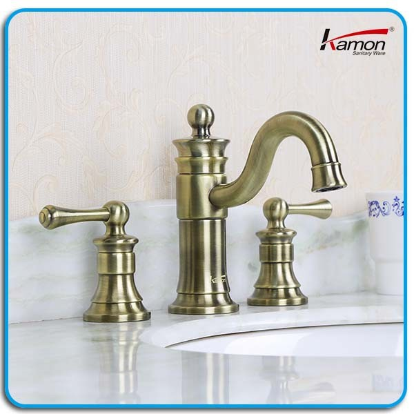 3-Hole Antique Brass Basin Water Mixer Tap