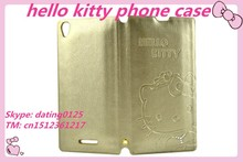 2015 Lovely cute hello kitty style leather phone case for sony