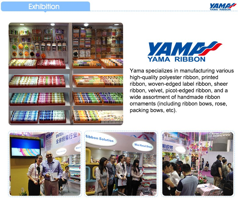 2017 YAMA new printed organza ribbon various color flower printing