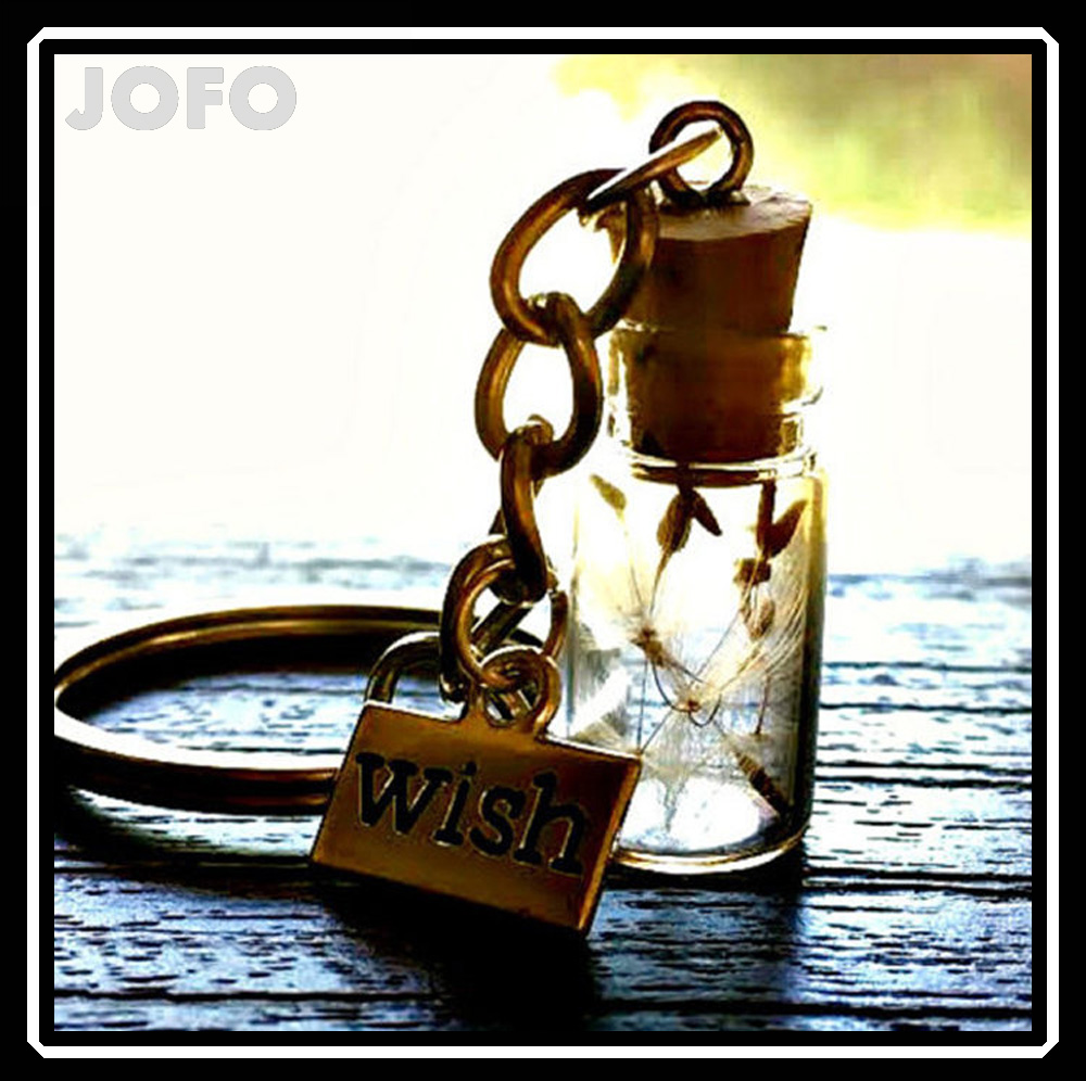 Engraved glass pendant keychain jewelry dried real natural flower drift bottle pendant key ring for women