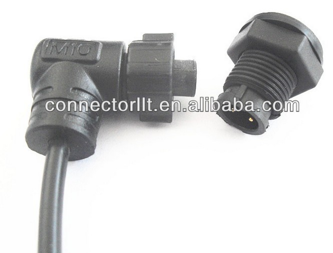 LLT M10 mini connector right angled plug with panel mount socket