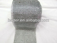 Silver plastic rhinestone mesh trimming without stone