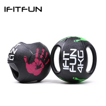 Gym equipment rubber bouncing medicine ball with two grips