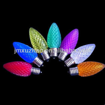 UL 120V LED C9 E17 LED Bulbs Faceted Replacement Bulbs Red Blue Yellow Green Purple White Orange Color