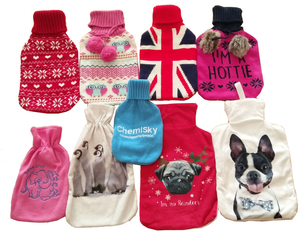 Vairous designs British Standard knitted rubber hot water bottle covers fleece warm water bag from Yangzhou hongguang