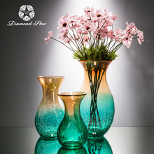 green cracked glass vase for table centerpieces or Mediterranean style home decoration