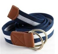 Fashionable Double Circle Buckle D Ring Canvas Belt