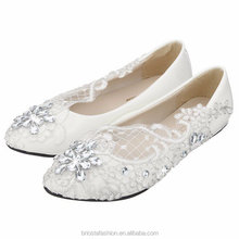 Lace Crystal Wedding Rhinestone Low Heel Flat Bridesmaid Shoes