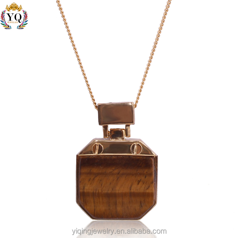 PYQ-00032 2016 fashion geometric shaped gold plated natural tigerite stone pendant necklace