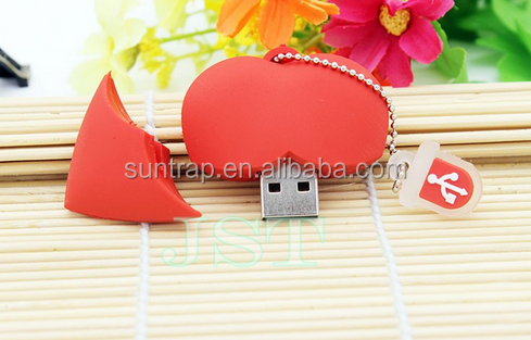 Love heart style usb flash drive pendrives4G 8G 16G usb stick pendriver USB 2.0 u disk thumb drive necklace