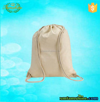 customized natural cotton plain drawstring bags