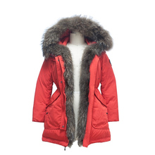 Fashion Wholesale Plain weave parka fur hooded raccoon fur coat