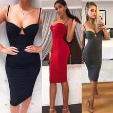 sexy strap low cut midi bandage dress
