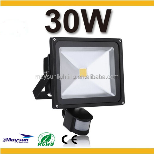 CE RoHs approved high quality PIR 30w 80lm/w sensor outdoor led flood lighting