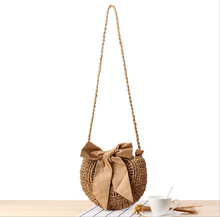 Kawayi bowknot style high quality for young lady summer beach shoulder straw bag