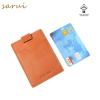 Stylish Hot Sale Double Layers Pocket Size Business Men Small Wallet Card Holder Leather Name Card Holder