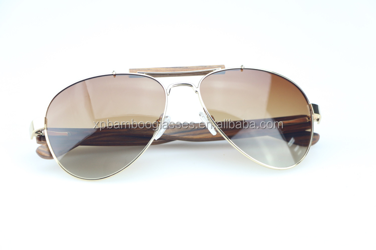 Latest New Fashion Wood Frame Metal Bridge Glasses Handmade Top Selling Aviator Sunglasses