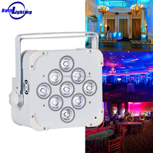Led battery operated bar DJ light 9x18w RGBWA UV 6in1 9pcs wireless dmx remote control mini slim par uplight