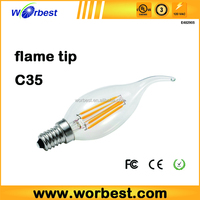 UL Filament 6W Candelabra E12 Base High Efficiency LED Candle Bulbs LED decorative Filament Candelabra E12 Base light,AC120v