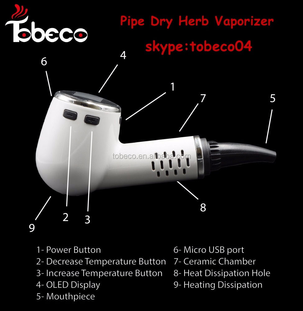 Tobeco new arrival Dry Herb Vaporizer e Pipe smoking pipe/wax/CUSTOM LOGO vaporizer pen wholesale