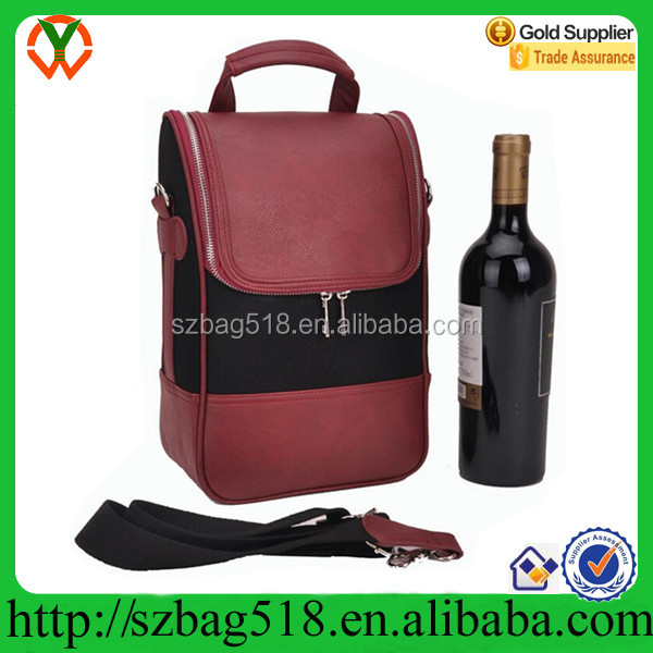 Wine Carrier / Wine Tote Bag - Leather Wine/Champagne Cooler Case bag China Supplier