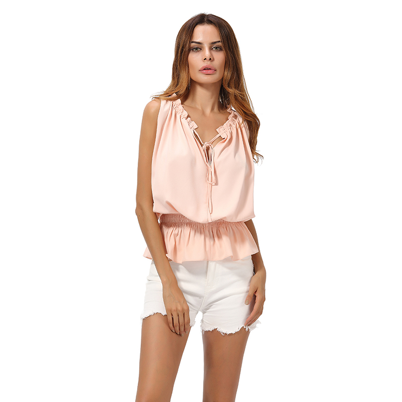 Ladies Tops V-Neck Sleeveless Summer Clothing For Ladies Fashion Spandex Linen Chiffon Shirt Sexy Casual Lady Shirt