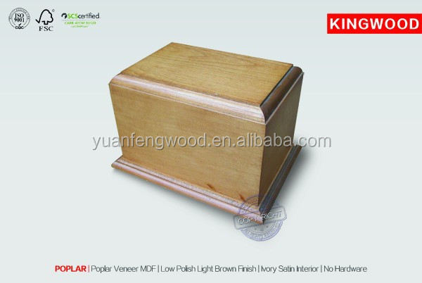 wholesale pet urns POPLAR unfinished wooden boxes wood veneer MDF urns